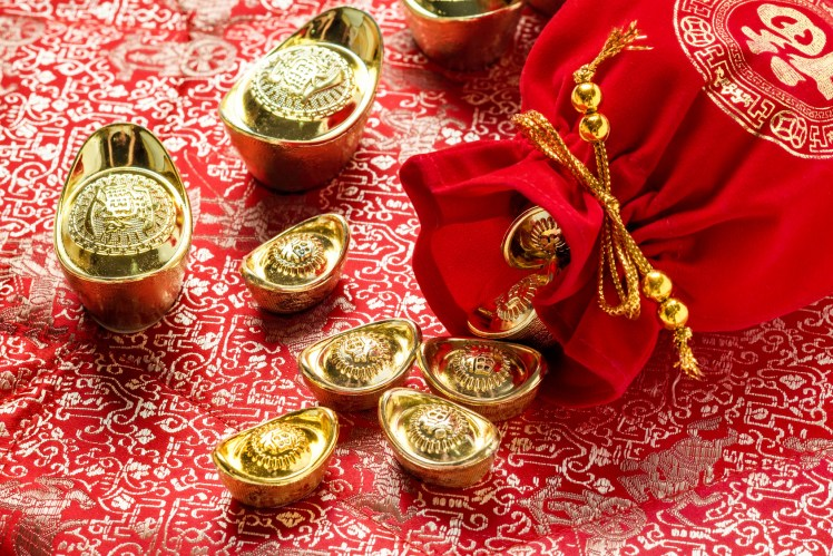 Chinese new year decoration,close up red fabric packet or ang po
