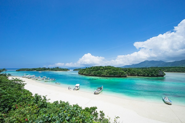 Tropical Japanese island beach with clear blue water, Ishigaki, Okinawa
