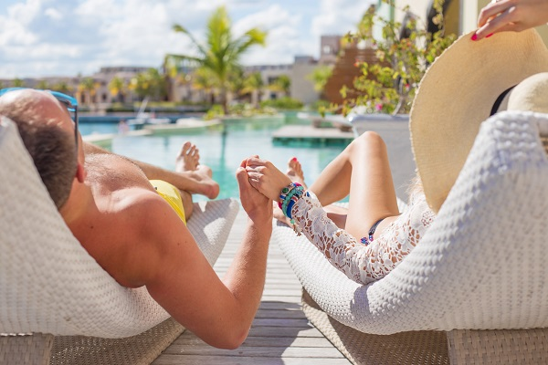 Couple enjoying vacation in luxury resort