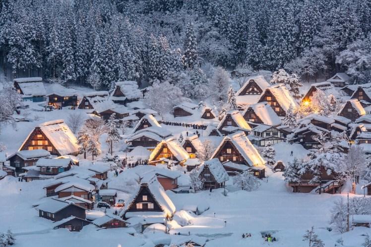 Shirakawago light-up with Snowfall Gifu Chubu Japan-shutterstock_256865620
