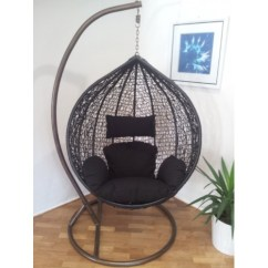 Egg Chair Stand Australia Monarch Double X Back Dining Chairs Outdoor Swing Hanging Pod Trapeze Wicker Rattan Black