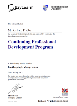 CPD program for MYOB training courses and bookkeeping students