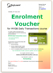 EzyLearn-Enrolment-Voucher-for discounted group pricing for online Xero, Quickbooks, MYOB, Microsoft Excel ,Microsoft Word, PowerPoint and WordPress courses