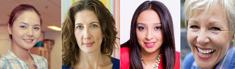 four faces of business women who have done online training courses and study