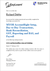 EzyLearn Beginners Certificate of Completion & Advanced Certificate fo Bookkeeping courses in MYOB Xero Intuit Quickbooks