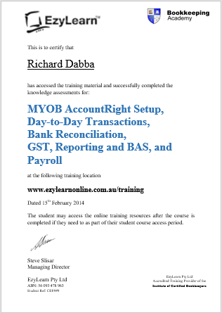 EzyLearn Certificate of Completion fo Bookkeeping courses in MYOB Xero Intuit Quickbooks