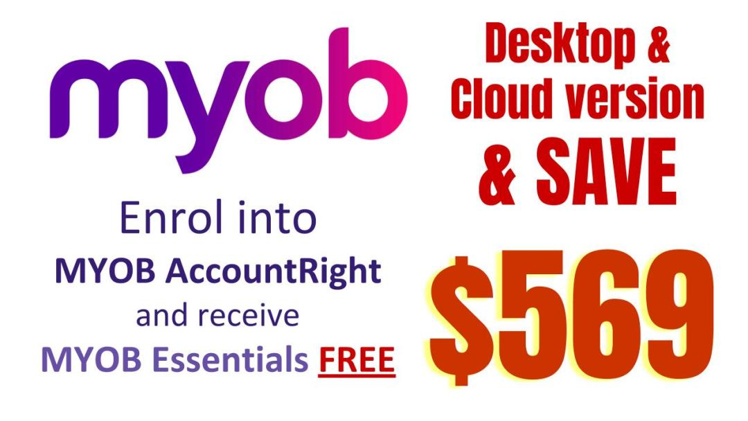Cheap discounted courses get MYOB AccountRight Beginners to Advanced Certificate training course & MYOB Essentials Beginners to Advanced for FREE