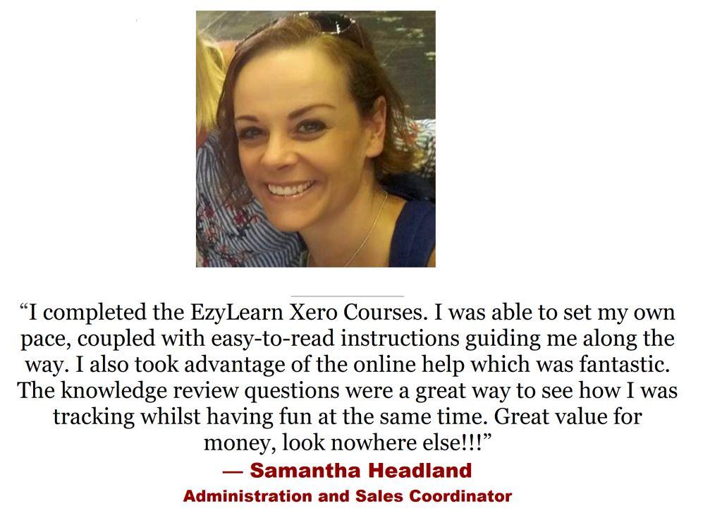 testimonial from administration office manager for xero training course study
