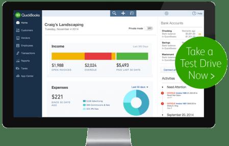 Intuit QuickBooks Online software Screenshot