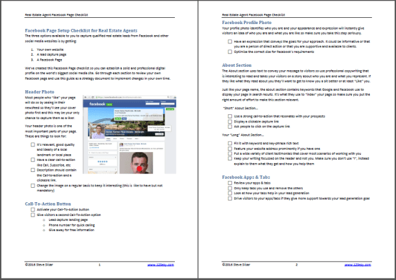 Facebook Page Checklist for real estate agents screenshot - 4 pages from getting likes, creating engage content and measureing ROI on social media
