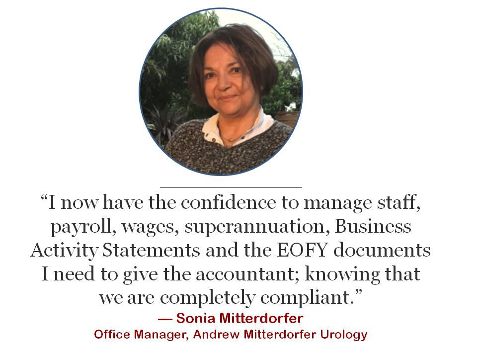 testimonial by office administration manager about MYOB training course study