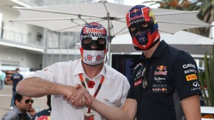 Nigel Mansell (GBR) and Daniil Kyvat (RUS) Red Bull Racing in Lucha Libre masks at Formula One World Championship, Rd17, Mexican Grand Prix, Preparations, Circuit Hermanos Rodriguez, Mexico City, Mexico, Thursday 29 October 2015. © Sutton Motorsport Images