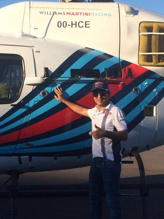 Fellipe Massa, Williams Martini Racing with Martini colored helicopter.