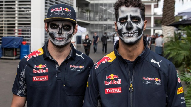 Max Verstappen (NED) Red Bull Racing and Daniel Ricciardo (AUS) Red Bull Racing with Day of the Dead face paint at Formula One World Championship, Rd19, Mexican Grand Prix, Preparations, Circuit Hermanos Rodriguez, Mexico City, Mexico, Thursday 27 October 2016. © Sutton Images