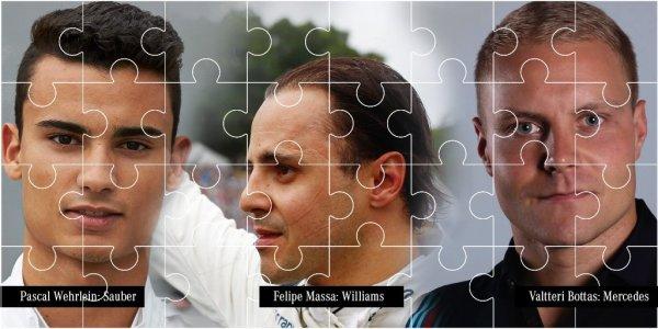 And the puzzle is complete...Pascal Wehrlein: Sauber, Felipe Massa: Williams, Valtteri Bottas: Mercedes
