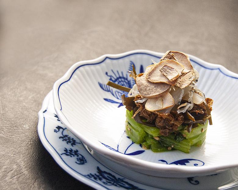 小松菜とらっきょうのサラダ