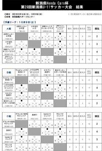 新潟県HondaCars杯第29回新潟県U-11サッカー大会予選リーグ結果