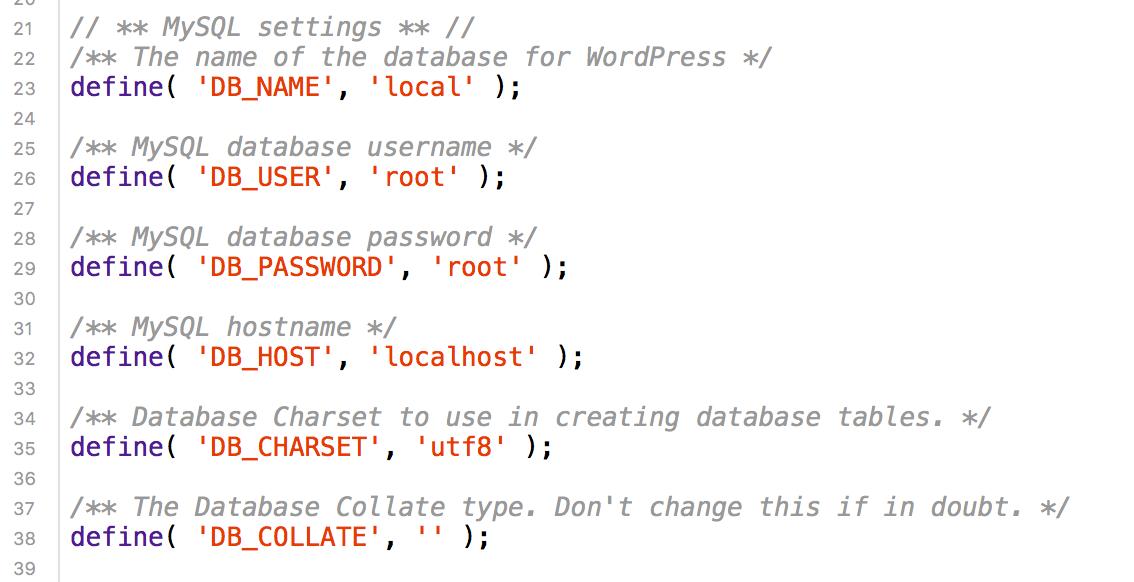 WordPress database connection strings