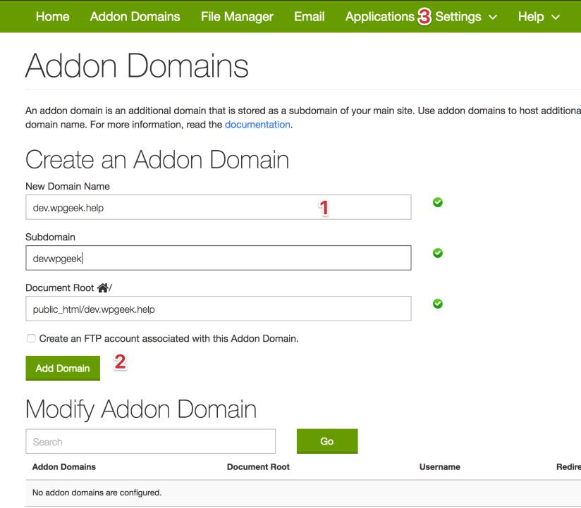 addon domain cpanel step2