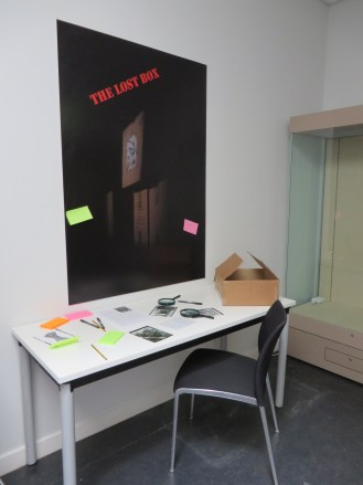 'The Lost Box' exhibition in situ in Leicester with some initial ideas attached to the display board.