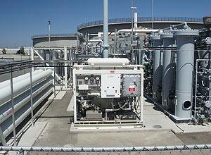 Estação de tratamento de esgoto que transforma gás metano dos dejetos em hidrogênio