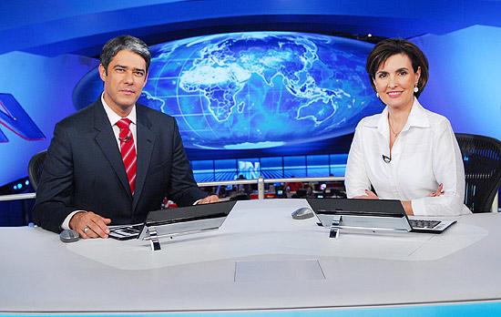 """Os jornalistas William Bonner e Fátima Bernardes, apresentadores do """"Jornal Nacional"""", da TV Globo"""