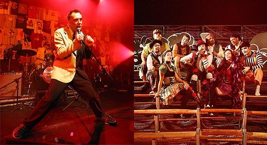 Cantor Arnaldo Antunes e grupo Teatro Mágico, que vão fazer um show por Copenhague e pelos animais
