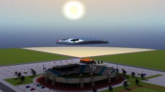 Nuvem artificial flutuaria no céu com a ajuda de gás hélio, bloqueando os raios solares e refrescando o estádio