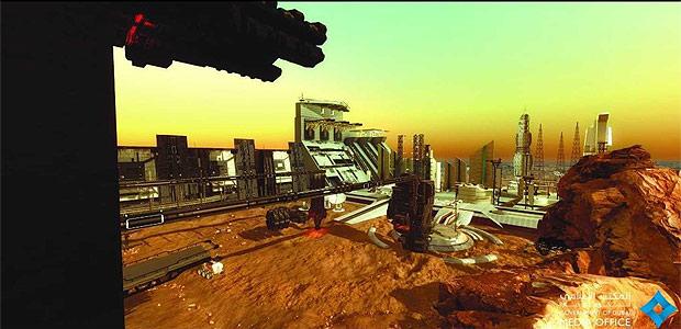 Imagens divulgadas pelo Dubai Media Office mostram como seria a cidade construída em Marte em 2117