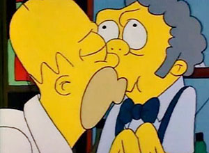 Cena do beijo gay entre Homer e Moe, no episódio