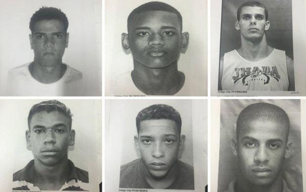 Procurados pela policia (da esq. para a dir.): Sergio Luiz da Silva Junior, Marcelo Miranda da Cruz Correa, Raphael Belo, Michel Brasil, Lucas Perdomo e Raí de Souza