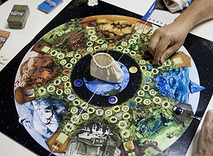 Tabuleiro do Jogo da Carta da Terra, durante uma partida que ocorreu no parque Ibirapuera, em São Paulo