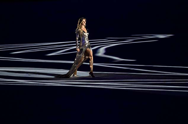 Brazilian fashion model Gisele Bundchen arrives on stage