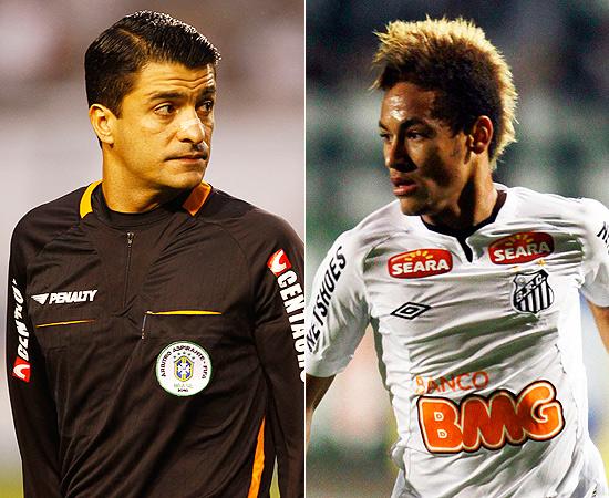O árbitro Sandro Meira Ricci e o atacante santista Neymar em fotomontagem