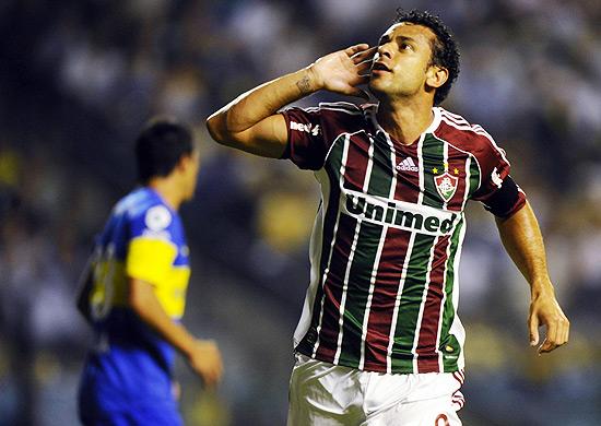 Fred comemora seu gol contra o Boca