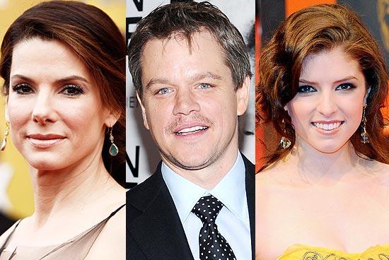 Sandra Bullock, Matt Damon e Anna Kendrick estão entre os indicados que apresentarão prêmios na cerimônia do Oscar