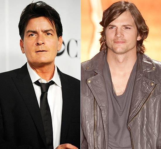 """O ator Ashton Kutcher (à dir.) entrará para o elenco de """"Two and a Half Man"""" em substituição a Charlie Sheen (à esq.)"""
