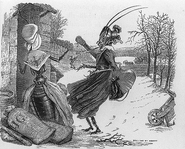 """Ilustração de J. J. Grandville para a edição de 1838 da fábula """"A Cigarra e a Formiga"""", de La Fontaine"""