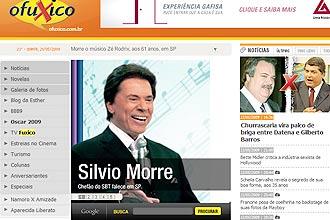 """Página do site """"O Fuxico"""", invadida por piratas virtuais, com a morte Silvio Santos"""