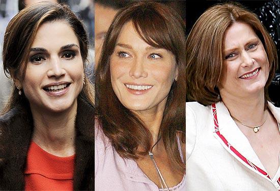 A rainha Rania, da Jordânia (esq.); a primeira-dama da França, Carla Bruni; e do Reino Unido, Sarah Brown (dir.)