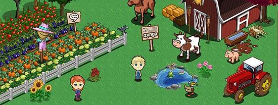 Tela do game Farmville, cujo número de usuários chega a 72 milhões; game faz revisão em site social