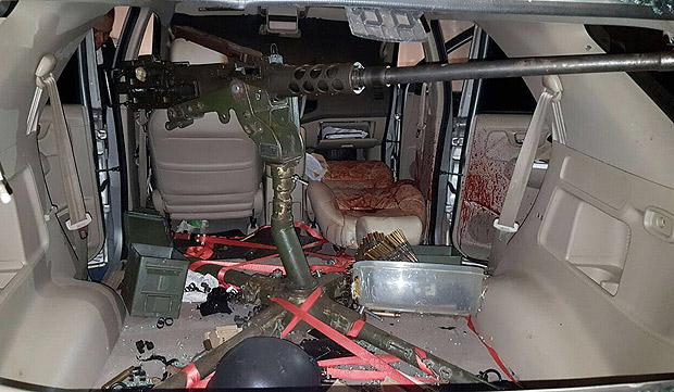 Metralhadora antiaérea usada para romper a blindagem do carro do traficante Jorge Rafaat Toumani, 56, morto com 16 tiros