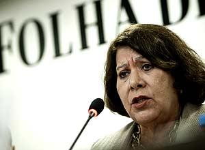 No auditório da *Folha*, Corregedora do CNJ, Eliana Calmon, durante debate sobre poder de investigação do conselho