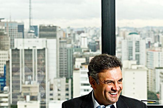 O senador Aécio Neves (PSDB-MG) durante a entrevista na sexta, em um hotel de São Paulo