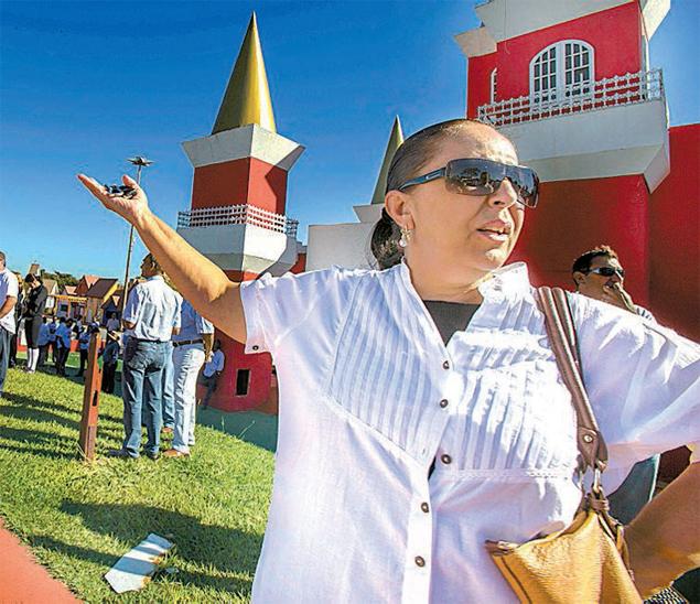 A fazendeira Roseli Ruiz durante protesto de produtores