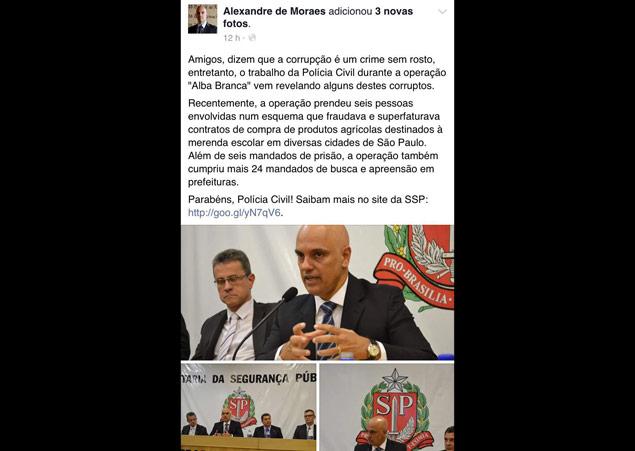 Post no Facebook do secretário de Segurança Pública, Alexandre de Moraes, sobre a Operação Alba Branca