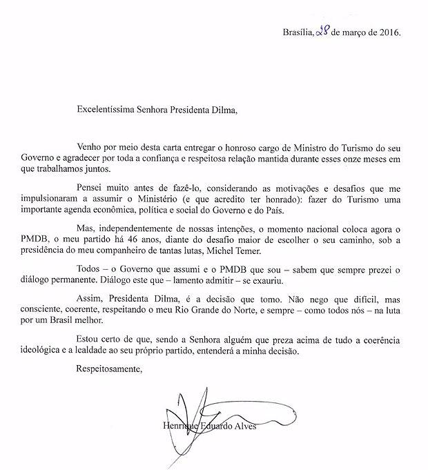 Fac-símile de carta de demissão do ministro do Turismo Henrique Eduardo Alves, do PMDBReprodução