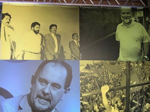 Foto do ex-tesoureiro João Vaccari Neto tem lugar de destaque em mural de congresso do PT