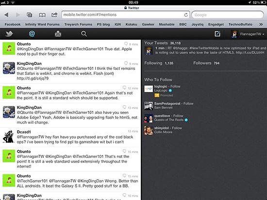 Versão do site do Twitter em HTML5, especialmente desenvolvida para o tablet iPad, da Apple