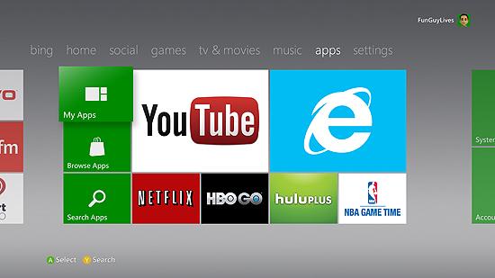 Novo visual da Xbox Live, que agora conta com uma versão do Internet Explorer